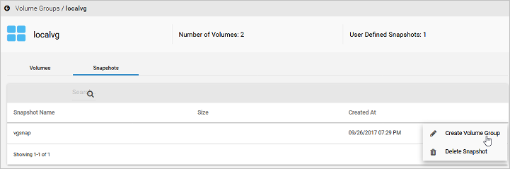 Creating a volume group from a volume group snapshot