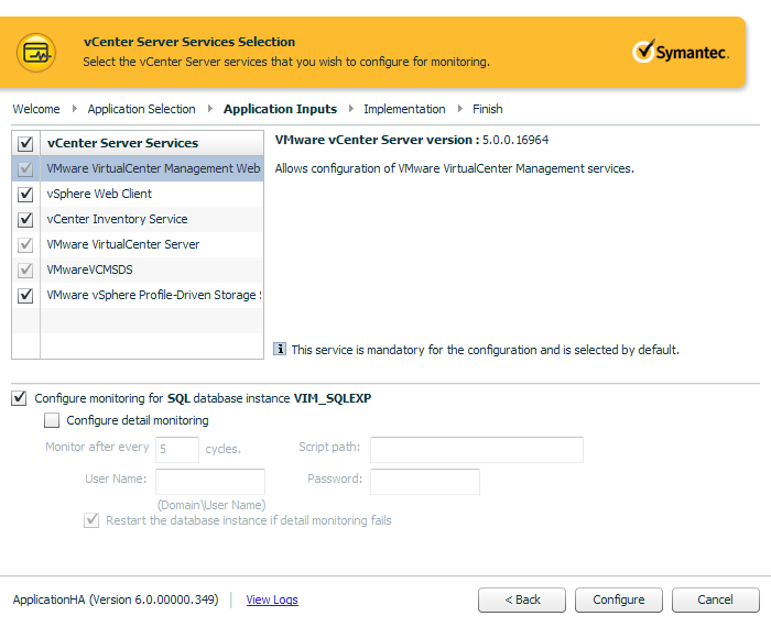 Configuring application monitoring for vCenter Server